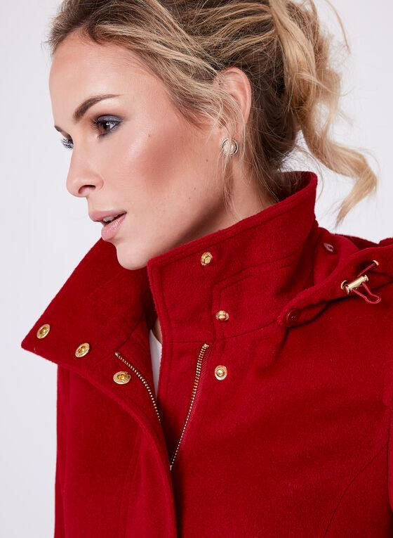Ellen Tracy - Belted Wool Blend Coat, Red, hi-res