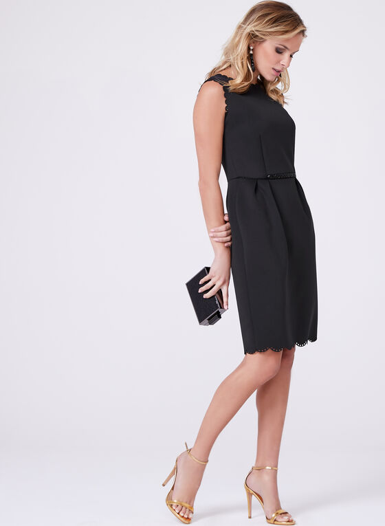 Frank Lyman - Scalloped Trim Scuba Dress, Black, hi-res