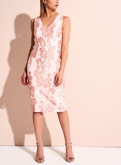 Jax Leaf Embroidered V-Neck Dress, Pink, hi-res