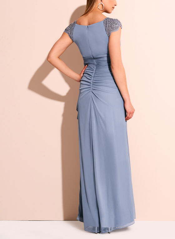 Cap Sleeve beaded Trim Evening Gown, Blue, hi-res