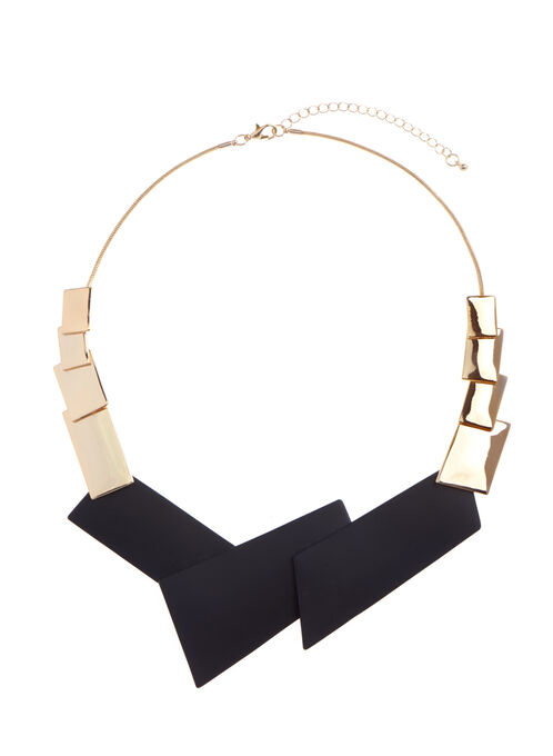 Geometric Overlapping Bib Necklace, Black, hi-res