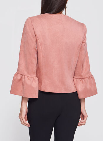 Faux-Suede Bell Sleeve Scuba Jacket, , hi-res