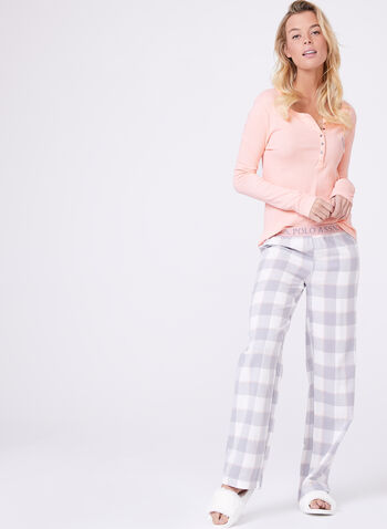 Flannel Pants & Contrast Top Pyjama Set , , hi-res