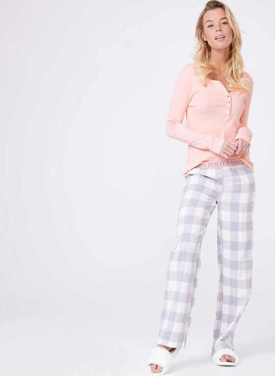 Flannel Pants & Contrast Top Pyjama Set , Pink, hi-res