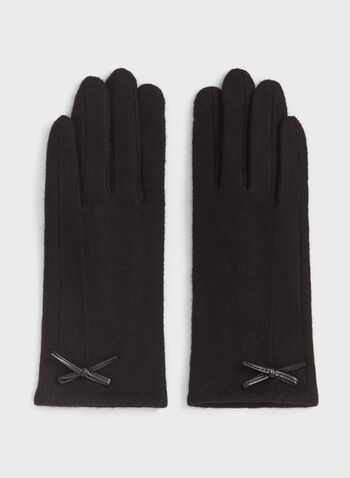Faux Leather Detail Wool Gloves, , hi-res
