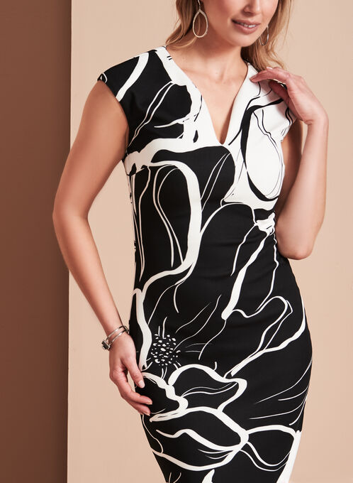 Frank Lyman Scuba Floral Print Dress, Black, hi-res