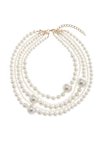 Multi Strand Pearl Choker Necklace, , hi-res