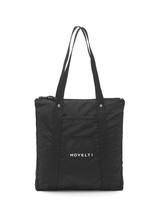 Novelti - Belted Packable Trench Coat, Black, hi-res