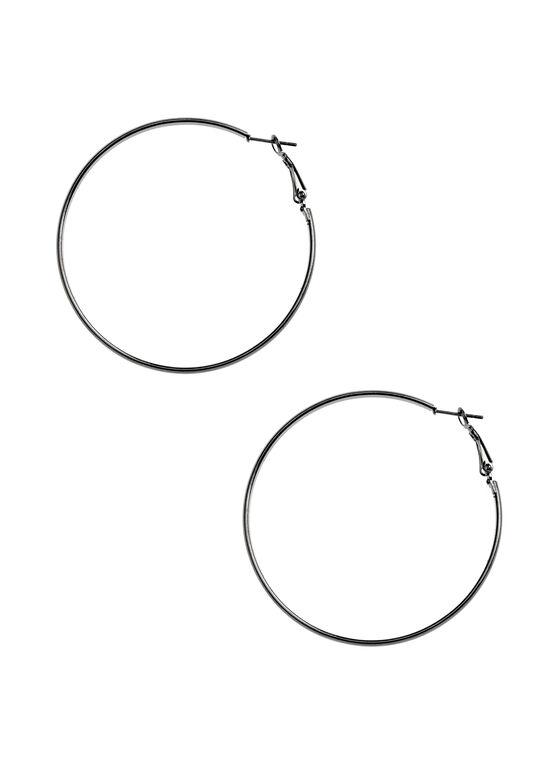 Metallic Hoop Earrings , Grey, hi-res