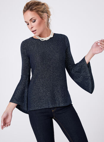 3/4 Bell Sleeve Glitter Knit Sweater, , hi-res