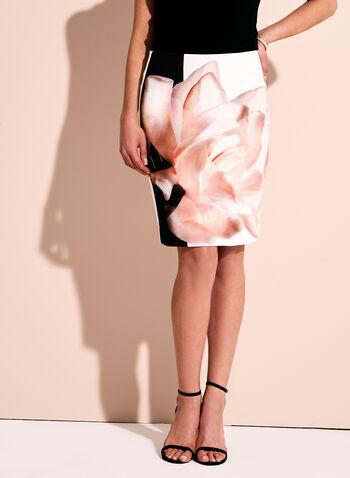 Floral Print Scuba Pencil Skirt, , hi-res