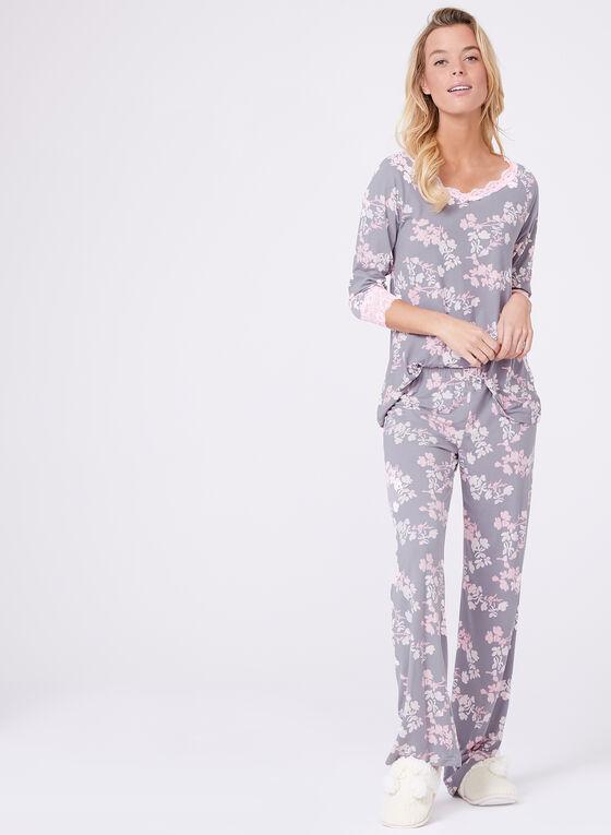 Floral Print Lace Trim Pajama Set, Grey, hi-res
