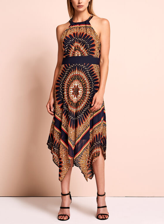 Sandra Darren - Aztec Handkerchief Hem Dress, Blue, hi-res
