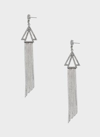 Boucles d'oreilles avec pendants triangles et chaînes , , hi-res