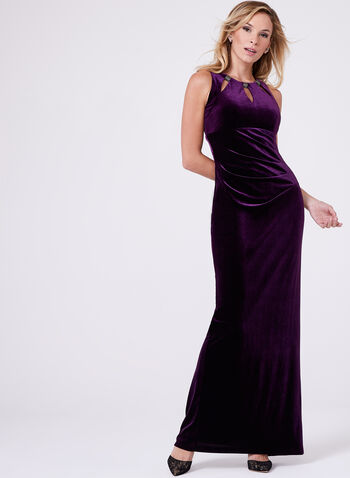 Frank Lyman - Beaded Neck Velvet Dress, , hi-res