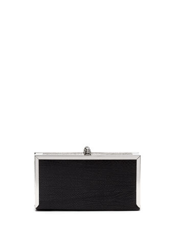 Faux Snakeskin Box Clutch, , hi-res