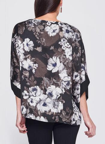 Floral Print Satin Kimono Poncho Top, , hi-res