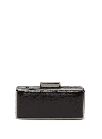 Crackled Metallic Box Clutch, , hi-res