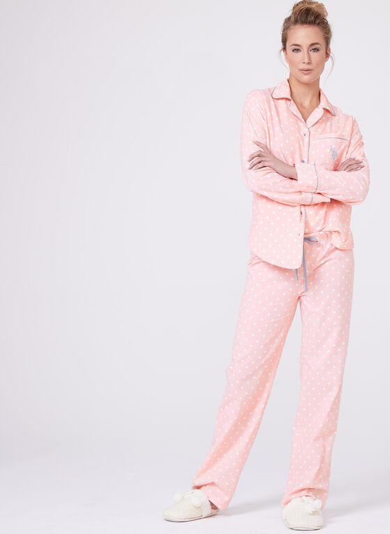 Dot Print Pajama Set , Pink, hi-res