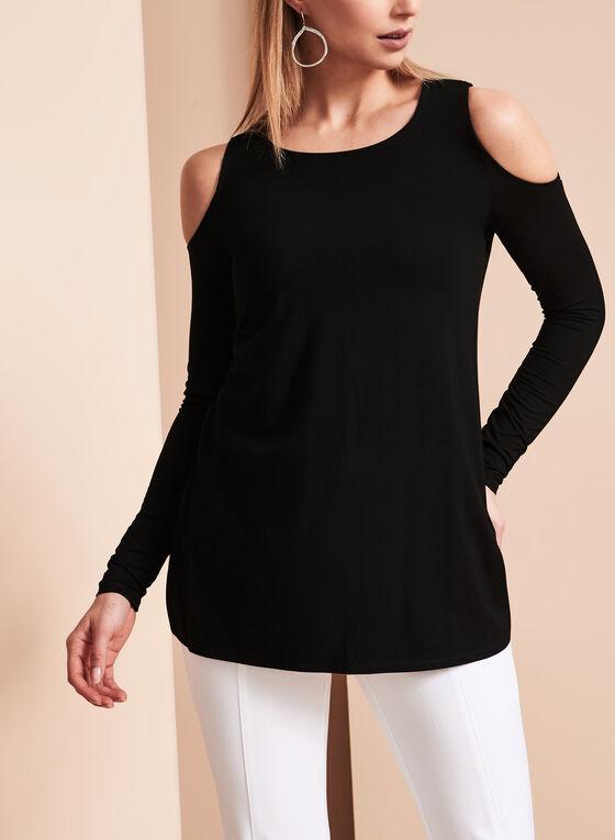 Long Sleeve Cold Shoulder Top, Black, hi-res