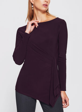 Asymmetric Side Pleated Draped Jersey Blouse, , hi-res