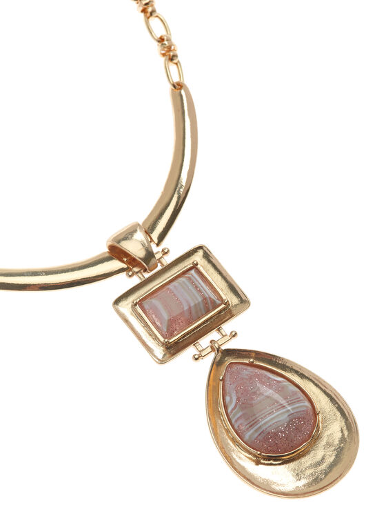 Geometric Stone Pendant Y-Necklace, Pink, hi-res
