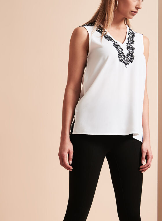 Contrast Embroidery V-Neck Blouse, White, hi-res