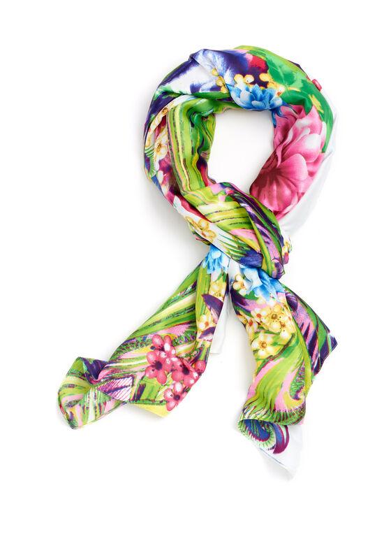 Floral Print Oblong Scarf, Multi, hi-res