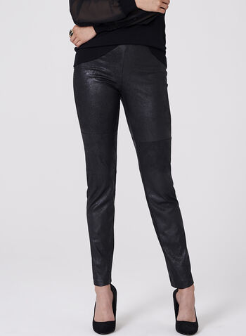 Faux Leather Leggings , Black, hi-res