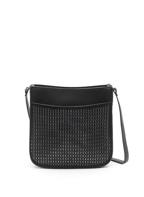 Studded & Perforated Crossbody Bag, Black, hi-res