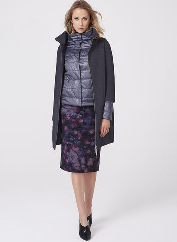 Stand Collar Coat with Puffer Vest, , hi-res