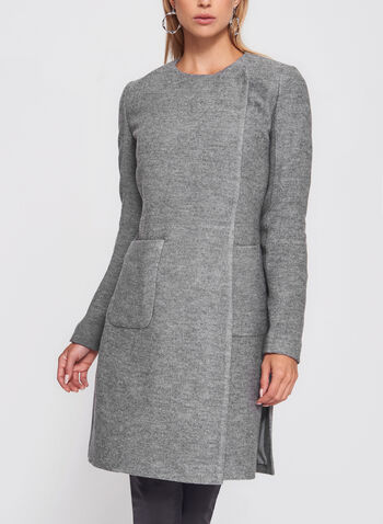 Wool Blend Wrap Collar Coat, , hi-res