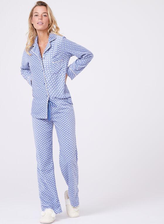 Geometric Print Pyjama Set, Blue, hi-res