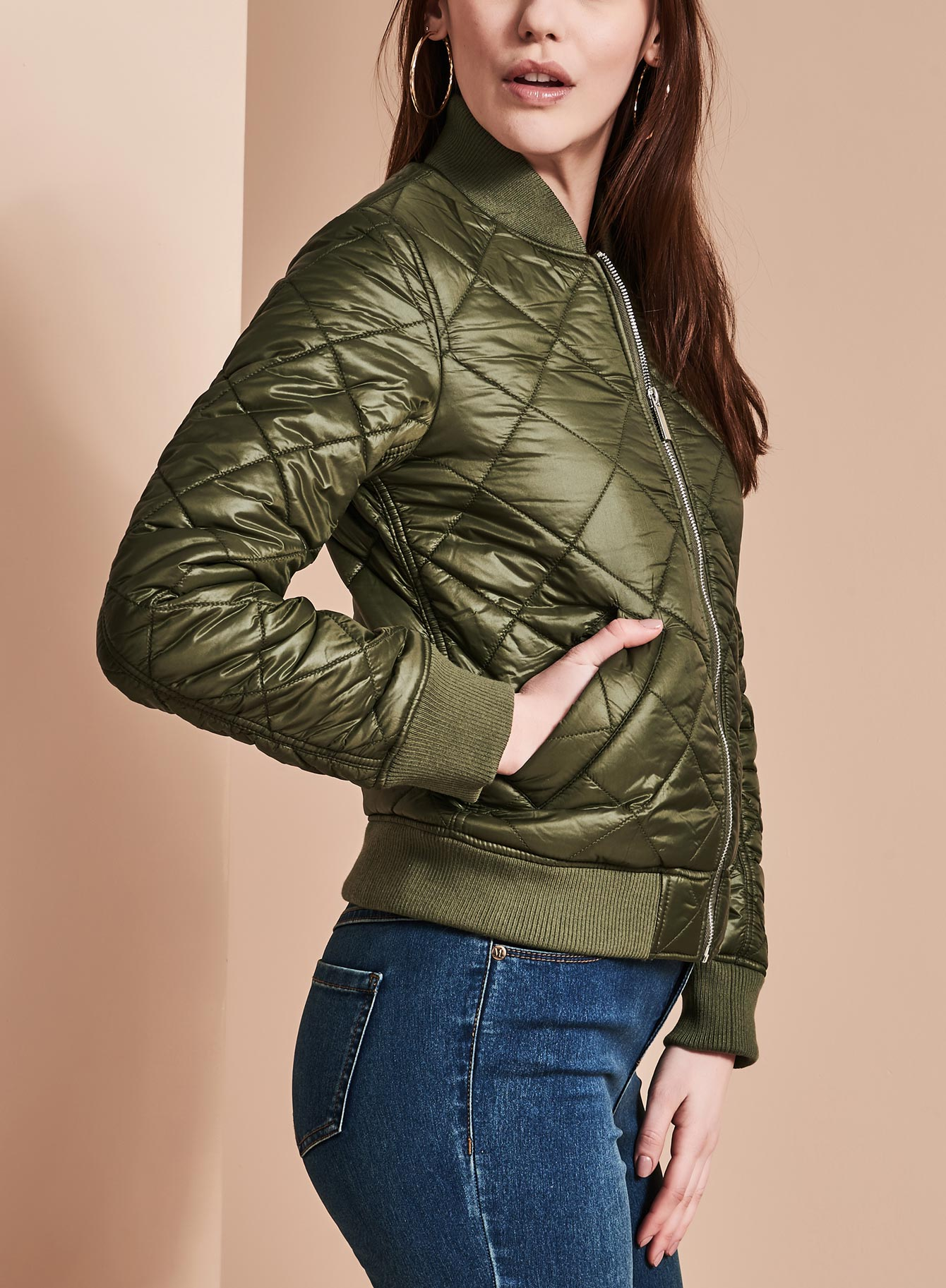 French Connection Quilted Bomber Coat